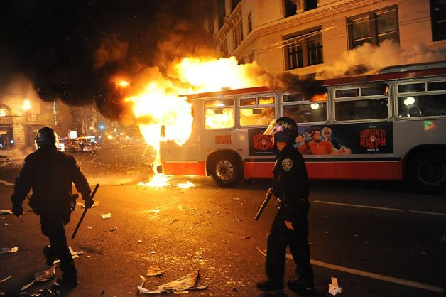 Protests against Google buses turned violent when the Giants won the Super Bowl